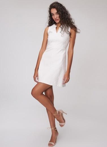 People By Fabrika Jakarlı Elbise Beyaz